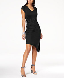 I.N.C. Ruched Asymmetrical T-Shirt Dress, Created for Macy's