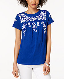 Charter Club Petite Embroidered Babydoll Top, Created for Macy's