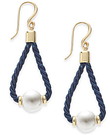 Charter Club Gold-Tone Imitation Pearl Corded Drop Earrings, Created for Macy's