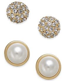 Charter Club Gold-Tone 2-Pc. Set Pavé & Imitation Pearl Stud Earrings, Created for Macy's