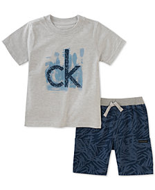 Calvin Klein Baby Boys 2-Pc. Logo T-Shirt & Printed Shorts Set