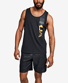 Under Armour Men's Charged Cotton® Metallic-Logo Tank Top