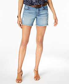 Style & Co Belted Ripped Denim Shorts, Created for Macy's