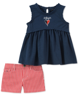 Tommy Hilfiger Baby Girls 2Pc GraphicPrint Top  Striped Shorts Set