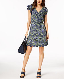 MICHAEL Michael Kors Petite Floral-Print Embroidered Scalloped-Hem Dress
