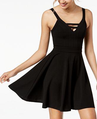 City Studios Juniors Strappy Skater Dress Dresses Juniors Macy S