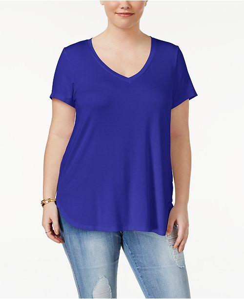 Celebrity Pink Trendy Plus Size V-Neck T-Shirt - Tops - Plus Sizes ... d4e208842