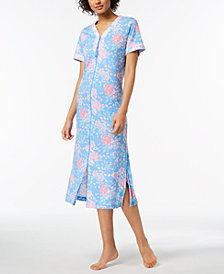 Miss Elaine Rose-Print Knit Robe