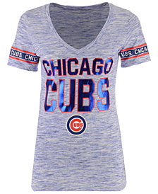 5th & Ocean Women's Chicago Cubs Space Dye Sleeve T-Shirt