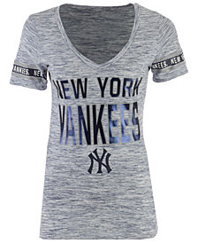 5th & Ocean Women's New York Yankees Space Dye Sleeve T-Shirt
