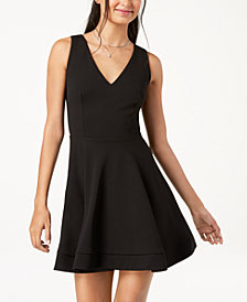 B Darlin Juniors' Open-Back Fit & Flare Dress