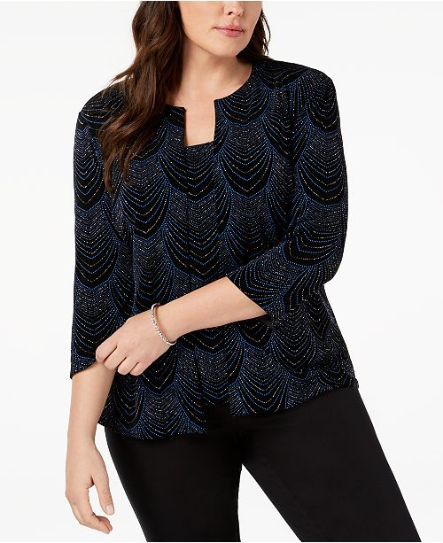 b7913014d5e Alex Evenings Plus Size Glitter-Print Jacket   Top - Tops - Women ...