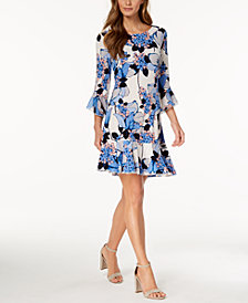 Ivanka Trump Ruffled Floral-Print Dress