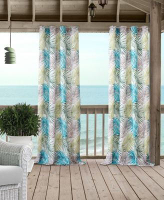 "Tahiti 50"" x 84"" Palm-Print Water-Repellent Indoor/Outdoor Grommet Curtain Panel with 50+ UV Protection"