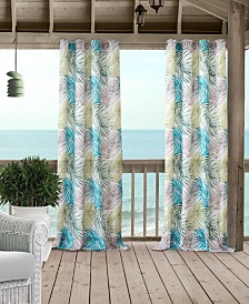 """Elrene Tahiti 50"""" x 108"""" Palm-Print Water-Repellent Indoor/Outdoor Grommet Curtain Panel with 50+ UV Protection"""