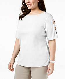 Karen Scott Plus Size Cotton Cutout-Sleeve T-Shirt, Created for Macy's