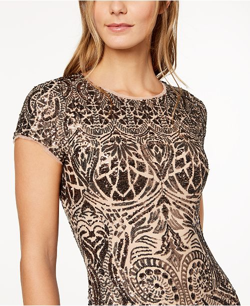 Sheath amp; Betsy Sequined Bronze Adam Dress q0HYwBH