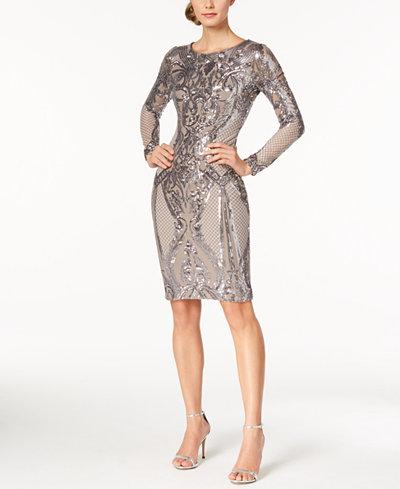 Betsy & Adam Petite Sequined Metallic Sheath Dress