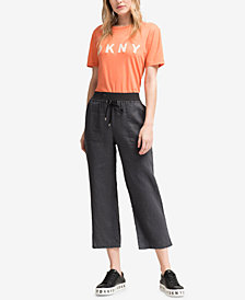 DKNY Linen Pull-On Cropped Pants