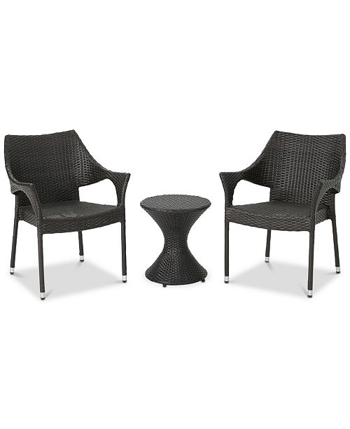 Noble House Dylan 3-Pc. Outdoor Chat Set