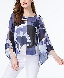 Alfani Petite Floral-Print Angel-Sleeve Top, Created for Macy's