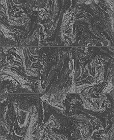 Graham & Brown Glitter Marble Tile Black Wallpaper