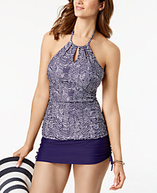 Island Escape Mikonos Beach High-Neck Tankini Top & Swim Skirt, Created for Macy's