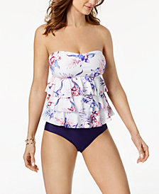 Island Escape Sunset Blooms Tiered Bandeau Tankini Top & High-Waist Bottoms, Created for Macy's