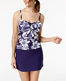 Island Escape Springtime Shore Ruffle Tankini Top & High-Waist Swim Skirt, Created for Macy's