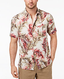 Tasso Elba Island Men's Riviera Palm-Print Pocket Shirt, Created for Macy's