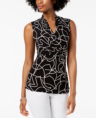Printed Ruched Shell, Created For Macy's by Dkny
