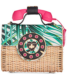 Betsey Johnson Whicker Phone Bag Crossbody