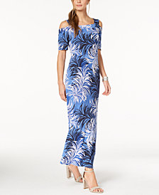 Nine West Cold-Shoulder Maxi Dress