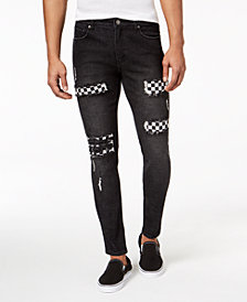 Jaywalker Men's Destructed Checkerboard Slim-Fit Pants