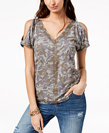 I.N.C. Cotton Camouflage Cold-Shoulder T-Shirt, Created for Macy's