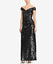 Lauren Ralph Lauren Off-The-Shoulder Sequin Gown