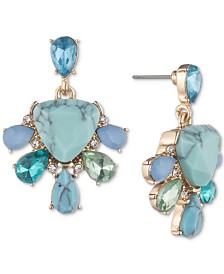 Carolee Gold-Tone Colored Stone Drop Earrings