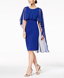 Calvin Klein Chiffon-Cape Sheath Dress