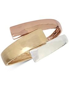 Tri-Tone Bypass Bangle Bracelet