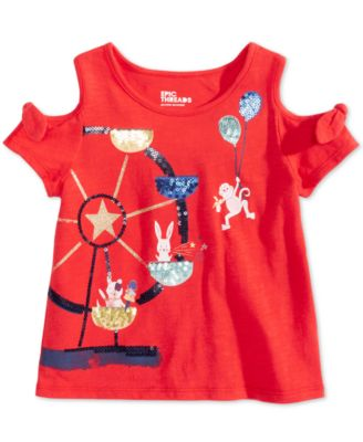 Toddler Girls Sequin Cold Shoulder T-Shirt, Created for Macy's