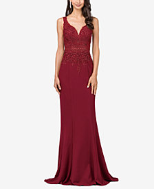 Dancing Queen Juniors' Embellished Lace-Bodice Column Gown