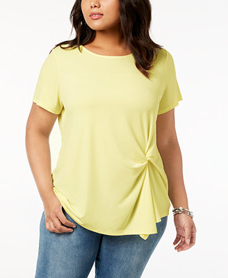 I.N.C. Plus Size Twisted Asymmetrical Top, Created For Macy's by Inc International Concepts