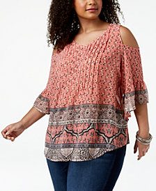 Style & Co Plus Size Mixed-Print Cold-Shoulder Top, Created for Macy's