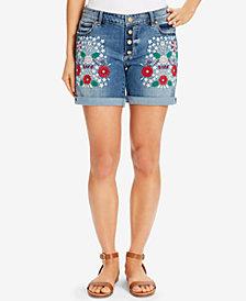 Vintage America Bestie Embroidered Denim Shorts