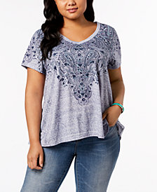 Style & Co Plus Size Graphic Swing-Hem T-Shirt, Created for Macy's