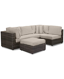 Viewport Outdoor 5-Pc. Modular Seating Set (2 Corner Units, 2 Armless Units and 1 Ottoman), with Custom Sunbrella® Cushions, Created for Macy's