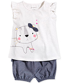 First Impressions Baby Girls Graphic-Print T-shirt & Bloomer Shorts Separates, Created for Macy's