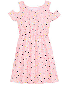 Epic Threads Big Girls Dot-Print Cold Shoulder Super-Soft Dress, Created for Macy's