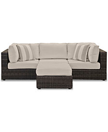 Viewport Outdoor 4-Pc. Modular Seating Set (2 Corner Units, 1 Armless Unit and 1 Ottoman), with Custom Sunbrella® Cushions, Created for Macy's