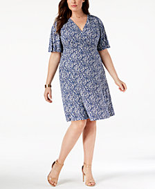 Jessica Howard Plus Size Puffed-Print Dress